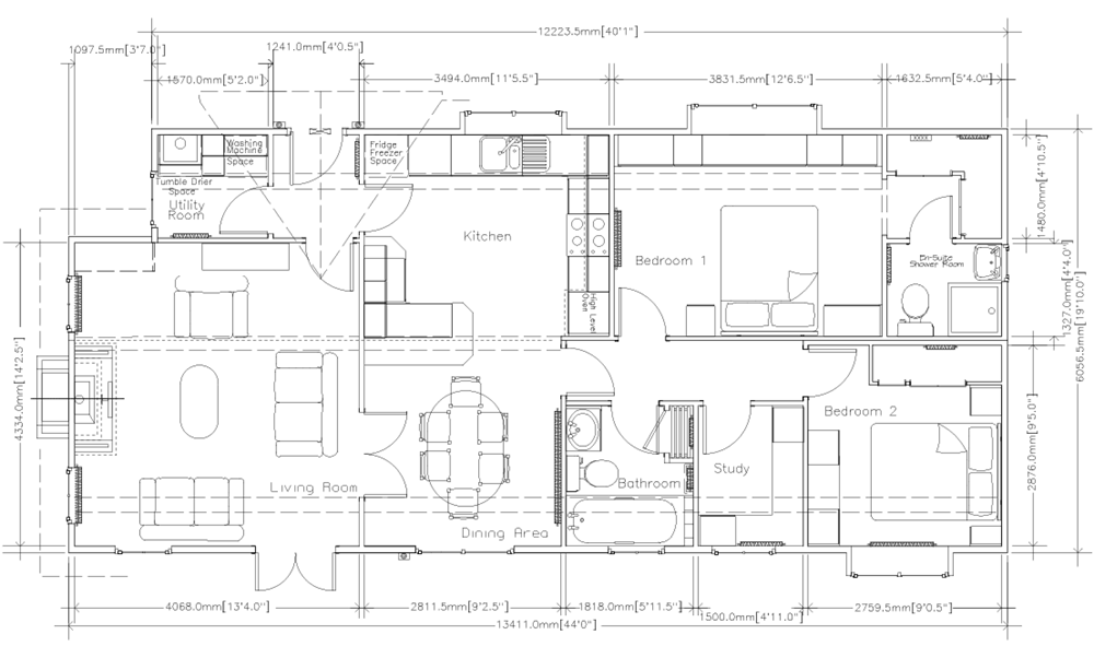 Floorplan of Fully Furnished Park Home for sale in Cambridgeshire