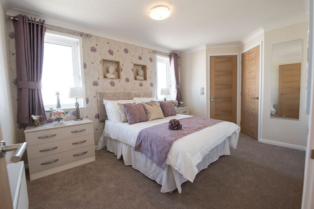 The master bedroom of 5 The Green Woodlands Park Home